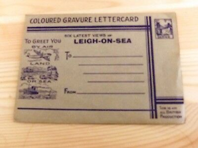 "Vintage ""Coloured Gravure Lettercard"" Leigh-on-Sea Essex 6 x local views Exc Con"