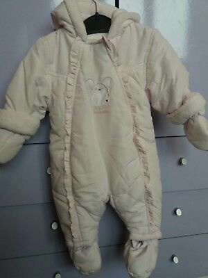 Pramsuit / Snowsuit 0-3 months girls pink Mothercare good condition
