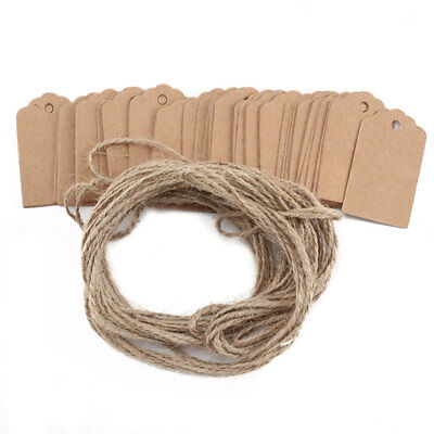 100x vintage Kraft Paper Gift Tags Scallop Label Wedding Blank Luggage + Strings