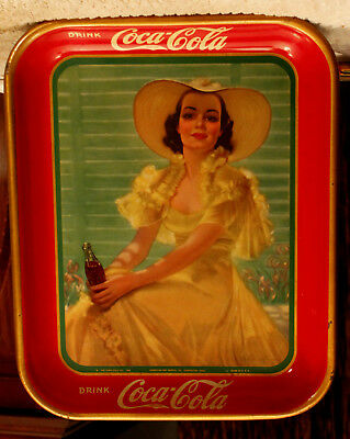 1938 Coca-Cola Tin Litho Advertising Serving Tray Girl In Yellow Dress Coke Tray