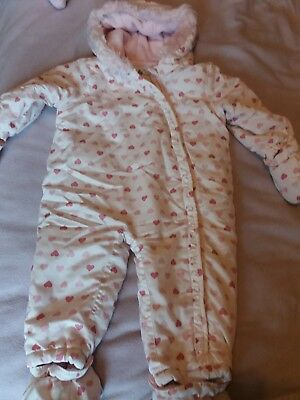 baby girl snowsuit 9-12 months TU clothing white with pink hearts.