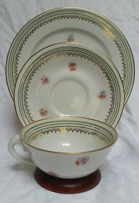 Limoges France Green Gold Stripes Cup Saucer Plate Trio c. 1929 VGUC