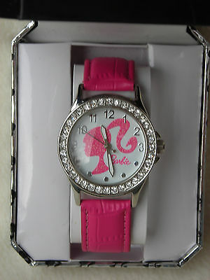 Women's/Ladies Barbie Watch with Pink Faux Leather Band & Crystal Bezel NEW