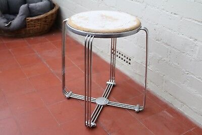 Vintage Alpax Stool Side Table Art Deco 1930's Chrome Aluminium