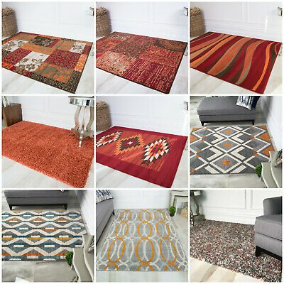 Warm Terracotta Rust Orange Large Small Rugs Cheap Designer Trendy Trellis Rug