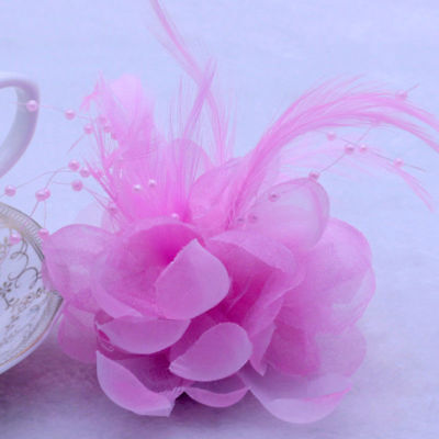 Hot 10cm Pink Pearl Corsage Hair Clips Flower Fascinator Feather Hairpin Wedding