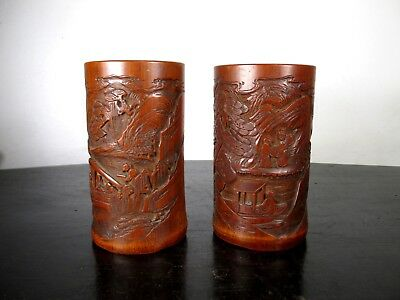 FINE Pair of ANTIQUE CHINESE BAMBOO BRUSH POTS