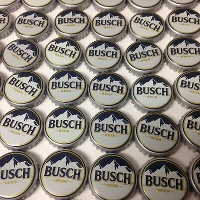"""Lot Of 100 Busch Beer Bottle Caps """"new Style""""  No Dents Navy Blue Sky"""