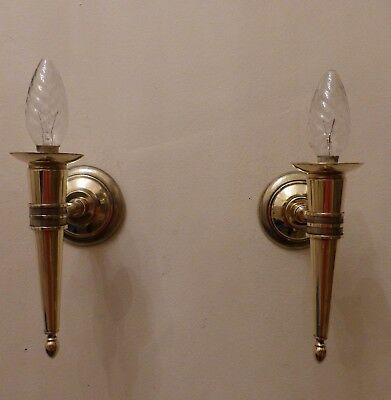 Superb Pair Vintage French Shiny Brass Torch Style Wall Lights Great Condition