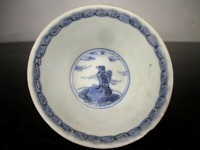 SUPERB 18thC TEA BOWL from SHIP WRECK PAINTED with BIRD OF PREY ca mau