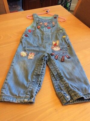 baby girls clothes 12-18 months Next Blue Denim Cotton Lined Donkey Dungarees