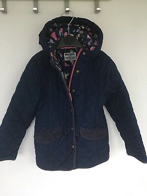 Joules Girls  Quilted Jacket Coat Navy 7 Years