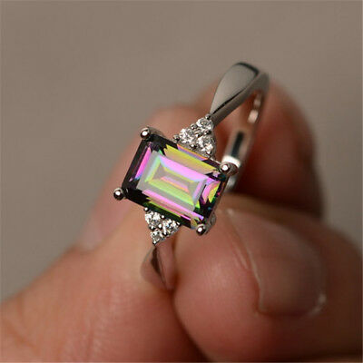 Women 925 Silver Gift Mystic Rainbow Topaz Wedding Engagement Ring Size 6-10