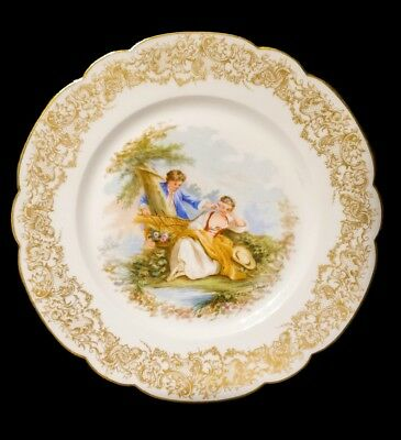 Rare Antique Hand Painted Artist Signed Sevres Chateau de St Cloud Cabinet Plate