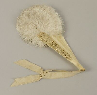 Antique Feather and Carved Bovine Cattle Bone Fan - Horse Racing - Jockeys