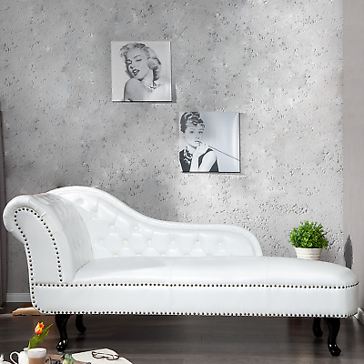 Chesterfield Recamiere weiss Sofa Chaise Lounge Couch Sessel Kunstleder weiß