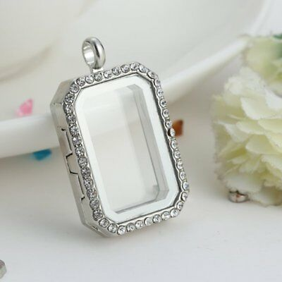 Silver Floating Charm Living Memory Square Crystal Glass Locket Necklace Pendant
