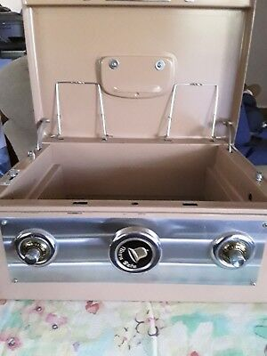 "Vintage Metal ""alarm Safe"" Cash Box Complete With Key/combo/drawer Vgpoc"