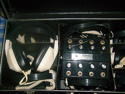Set of 8 Vintage Retro Hanimex PA-3000 Headphones with Listening Station PA1900