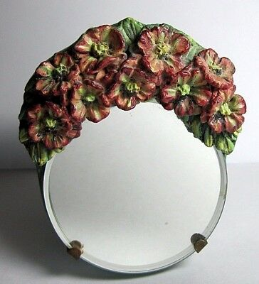 Vintage Antique Barbola 1930's Bevelled Tiny Dressing Table Mirror 3.25 x 2.75""