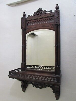 Victorian Hand Carved Wall Hanging Bathroom/Shaving Mirror With Shelf