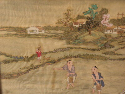 Chinese Watercolor Painting On Silk Rice Farmers