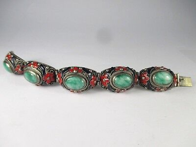 ATTRACTIVE Chinese ENAMEL AND HARDSTONE BRACELET