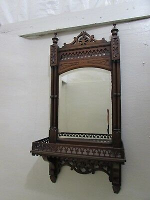 Victorian Hand Carved Wall Hanging Bathroom/Shaving Mirror With Shelf...