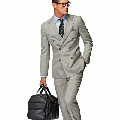 NWT Suitsupply HAVANA Gray 100% Wool DB Suit - Size 38L  EU 94  *Free Shipping*