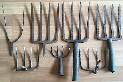 Old Vtg Antique Hand Tool Implement Head Pitch Fork Farm Garden Rake Lot Of 7