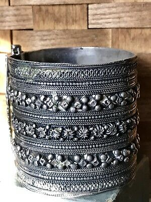 Vintage Antique Ethnic Tribal Old Silver Bracelet Bangle Cuff - Asia India