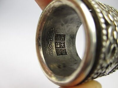 Fine ANTIQUE 19thC SOLID SILVER archers THUMB RING with ROTATING PANEL mark