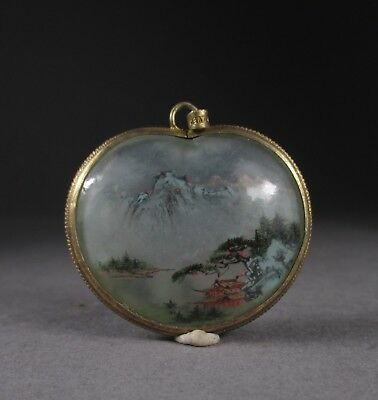 RARE ANTIQUE/VINTAGE inside PAINTED chinese GLASS PENDANT