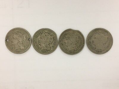 lot of 4, 1865 (2), 1869, 1866 Three 3 Cent Nickel, one Holed Twice, Old Button?
