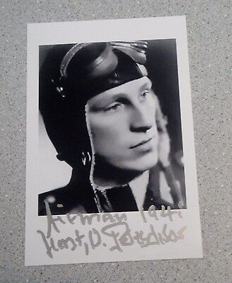 WW2 LUFTWAFFE HORST PETZSCHLER (1921-2011) ACE PILOT SIGNED 6x4 PHOTO AUTOGRAPH