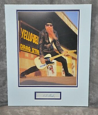Billy Gibbons Magazine Ad Matted Display w/ Leo Fender Signed Cut Autograph