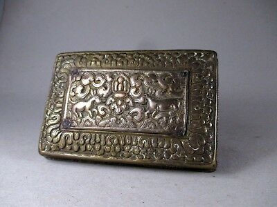 UNUSUAL mixed METAL BOX with ANIMAL BUDDHIST/HINDU tibetan indian nepalese