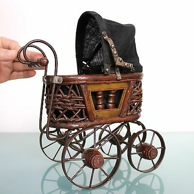 Antique Doll Carriage Dutch TOP! Condition Rare Wood Metal Baby Mini Functioning