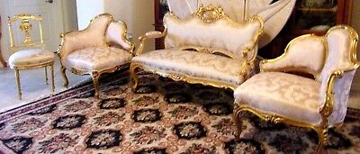 SET RARE CHERUB CAMEO CARVED GILT WOOD FRENCH SALON C.1890 Settee Corner Chairs