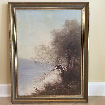 Paul Louis Morizet (French) Antique 19th C. Landscape Oil on Canvas Painting