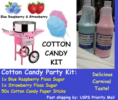 Cotton Candy Machine Floss Sugar Kit *Blue Raspberry + Strawberry & 50x sticks!