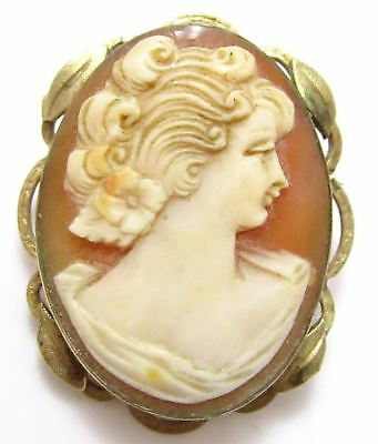 Old Vintage Gold Plated Carved Shell Cameo Lady Convertible Pin Pendant*E367