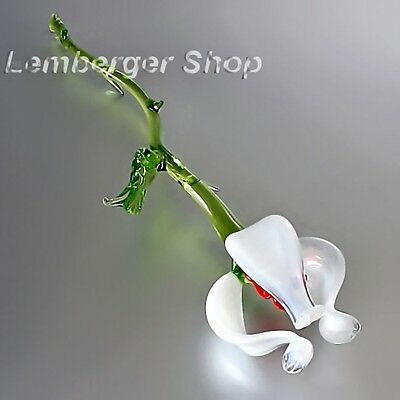 Glass figurine flower made of colored glass. Lenght 20 cm / 8 inch!