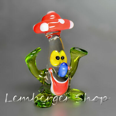 Glass figurine amanita made of colored glass. Height 5 cm / 2 inch!