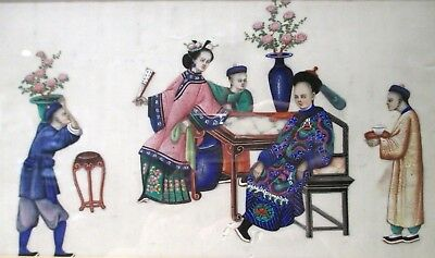 AMAZING QUALITY ANTIQUE Chinese PAINTING OF A COURT SCENE on rice or pith paper