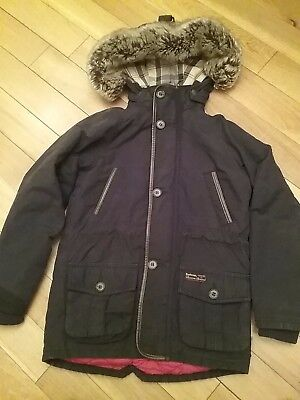Barbour Boys Coat Age 6-7 Navy , Hood Fur Lined , Quilted Lining