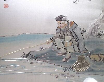 FINE & RARE 1950s CHINESE EMBROIDERED SILK Picture SIGNED with SCRIPT. fisherman