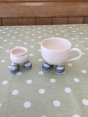 Carlton Walking Ware egg cup and cup blue shoes stripy socks Fantastic condition