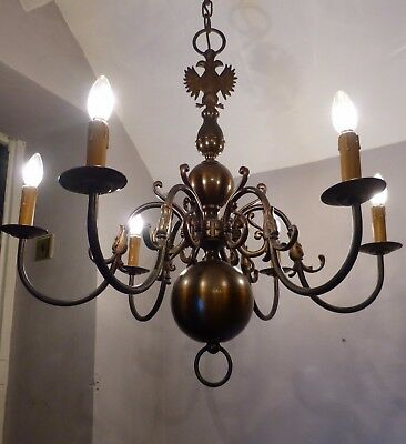 Large 6-Arm Vintage Flemish Dark Brass Chandelier with Big Fish & Two-Head Eagle