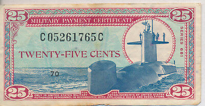 25 Cent Military Payment Coupon **series 681** Historic Note!
